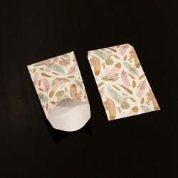 Lot de 100 sachets cadeaux blancs motif plumes colorées 11x17cm - 8105