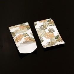 Lot de 100 sachets cadeaux blancs motif feuilles tropicales 11x17cm - 8106
