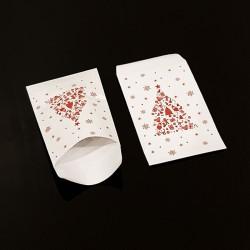 Lot de 50 pochettes cadeaux 16x24cm à motif sapin de Noël rouge - 8112