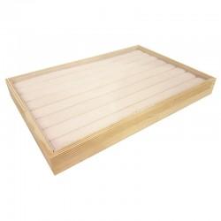 Plateau pour bagues en bois et tissu aspect suédine beige rosé - 9074