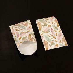 Lot de 50 pochettes cadeaux blanches 16x24cm à motif plumes - 8113