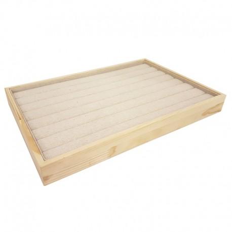 Plateau pour bagues en bois et coton beige - 9075