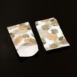 Lot de 50 pochettes cadeaux blanches 16x24cm à motif feuilles tropicales - 8114
