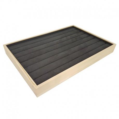 Plateau pour bagues en bois et tissu aspect suédine gris anthracite - 9076