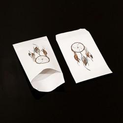Lot de 50 pochettes cadeaux blanches 16x24cm à motif attrape-rêves - 8116