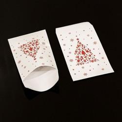 50 grandes pochettes cadeaux motif sapin de Noël rouge 21x29cm - 8119