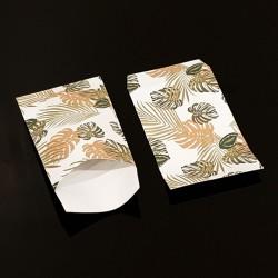 50 grandes pochettes cadeaux motif feuilles tropicales 21x29cm - 8121