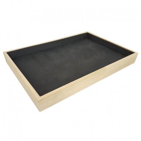 Plateau de présentation en bois et tissu aspect suédine gris anthracite - 9086