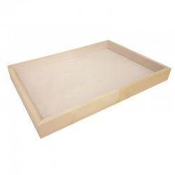 Plateau de présentation en bois et tissu aspect suédine beige rosé - 9087