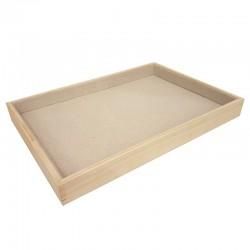 Plateau de présentation en bois et coton beige - 9088