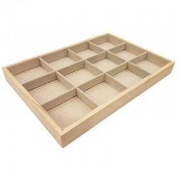 Plateau bijoux en bois et coton beige à casiers - 9071