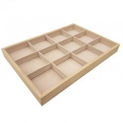 Plateau bijoux en bois et tissu aspect suédine beige rosé à casiers - 9072