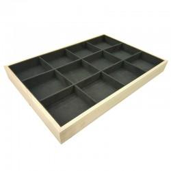Plateau bijoux en bois et tissu aspect suédine gris anthracite à casiers - 9073