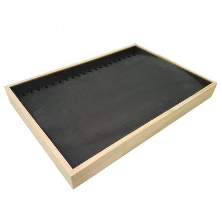 Plateau pour chaînes et colliers en bois et tissu aspect suédine gris - 9083
