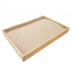 Plateau pour chaînes et colliers en bois et coton beige - 9084