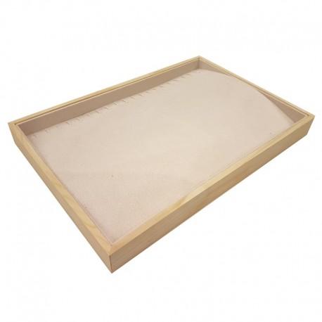 Plateau pour chaînes et colliers en bois et tissu aspect suédine beige - 9085