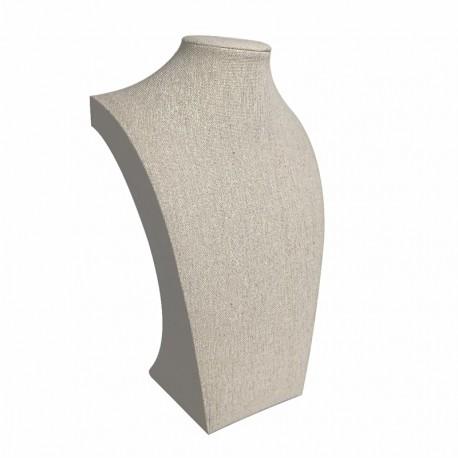 Buste pour collier en coton beige 30cm - 9113