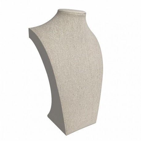 Buste pour collier en coton beige 35cm - 9114