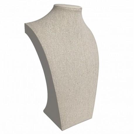 Grand buste bijoux en coton beige 40cm - 9115