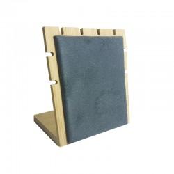 Petit présentoir bijoux pour chaînes en bois et suédine gris anthracite - 9107