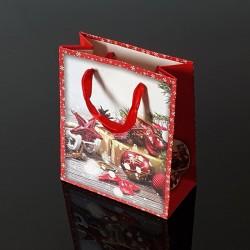 12 petits sacs de Noël rouges motifs décorations de Noël - 12x6x14cm - 9118