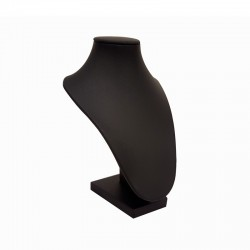 Mini buste bijoux en simili cuir noir pour colliers - 9098