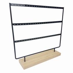 Porte boucles d'oreilles en bois clair et en métal noir 33 paires - 9156
