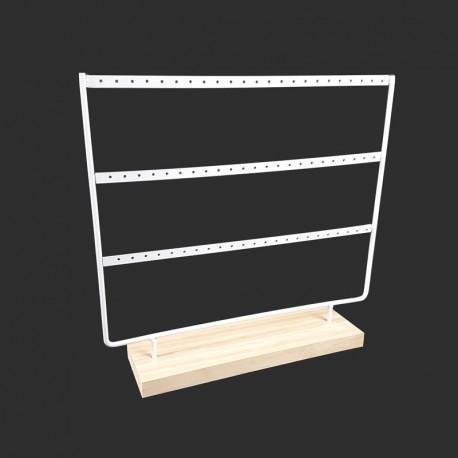 Porte boucles d'oreilles en bois clair et en métal blanc 33 paires - 9157