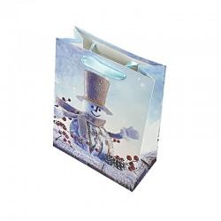 12 sacs cadeaux cartonnés bleus motif Bonhomme de Neige - 17.5x8.5x24cm - 9132