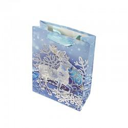 12 sacs cadeaux cartonnés bleus motif Renne de Noël - 17.5x8.5x24cm - 9133
