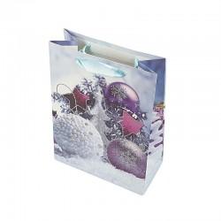 12 sacs cadeaux cartonnés bleus motif Boules de Noël - 17.5x8.5x24cm - 9134
