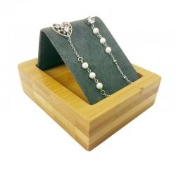 Petit support à boucles d'oreilles en bois et suédine gris anthracite - 9168