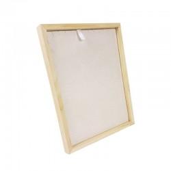 Présentoir cadre pour chaînes ou colliers en bois et suédine beige - 9171