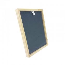 Présentoir cadre pour chaînes ou colliers en bois et suédine grise - 9172