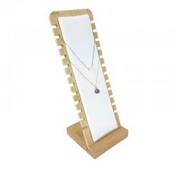 Présentoir colliers vertical petite largeur en bois et simili cuir blanc - 9175