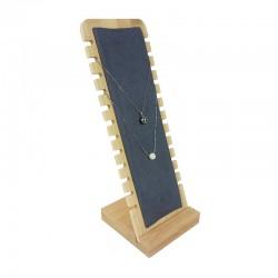 Présentoir colliers vertical petite largeur en bois et suédine grise - 9176