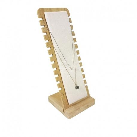 Présentoir colliers vertical petite largeur en bois et suédine beige rosé - 9177