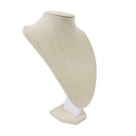 Buste en coton beige naturel pour colliers 29cm - 9181