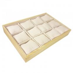 Présentoir à coussins pour montres en bois et suédine beige rosé - 9184