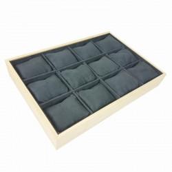 Présentoir à coussins pour montres en bois et suédine gris anthracite - 9183
