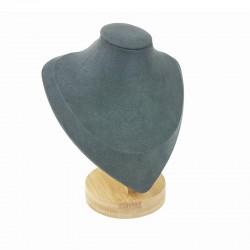 Petit buste en bois et suédine gris anthracite 17cm - 9189