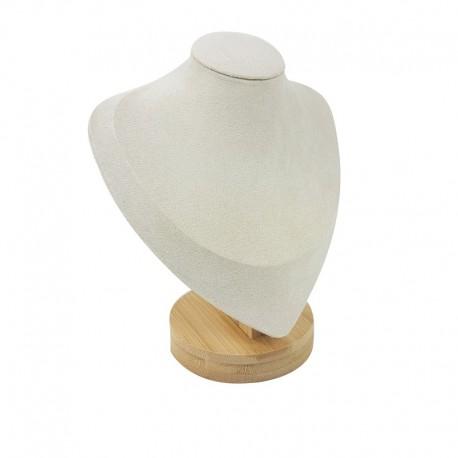 Petit buste en bois et suédine beige clair 17cm - 9190