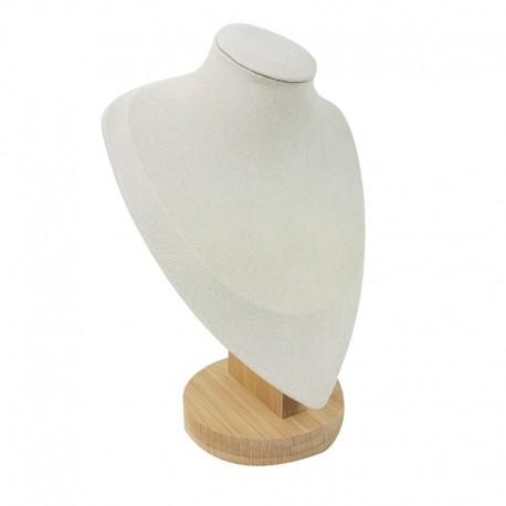 Buste en bois et suédine beige clair 23cm - 9192