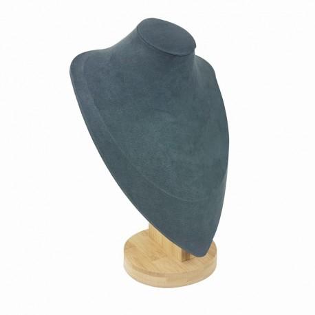 Grand buste en bois et suédine gris anthracite 28cm - 9193