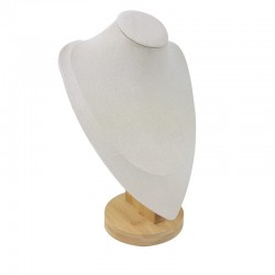 Grand buste en bois et suédine beige 28cm - 9194