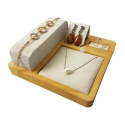 Plateau de présentation pour parure complète en bois et suédine beige - 9245