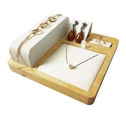Plateau de présentation pour parure complète en bois et simili cuir blanc - 9246