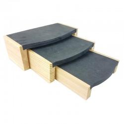 3 tables gigognes en bois et en suédine gris anthracite - 9248