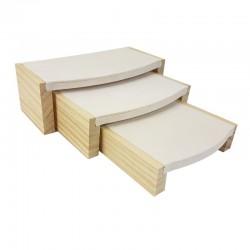3 tables gigognes en bois et suédine beige - 9247