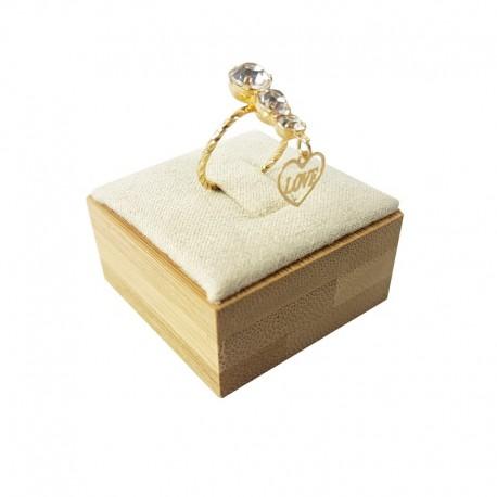 Plot pour bague en bois et en suédine beige - 9252